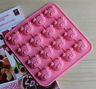 Недорогие -16 отверстий форма свинья торт лед желе Формы для шоколада, силиконовая 17 × 17 × 1,8 см (6,7 × 6,7 × 0,8 дюйма)