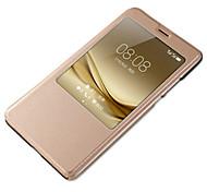 Для с окошком С функцией автовывода из режима сна Кейс для Чехол Кейс для Один цвет Твердый Искусственная кожа для HuaweiHuawei P9 Huawei