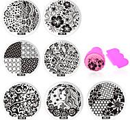 Недорогие -11 pcs Штамповка плиты / Украшения для ногтей Цветы / Мода Повседневные Дизайн ногтей / Металл