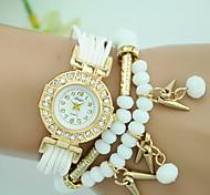 Women's Bracelet Watch Fashion Watch Quartz Fabric Band Pearls Black White Blue Red Brown Rose