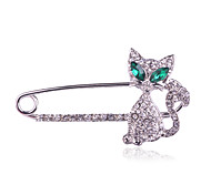 Women's Fashion Alloy/Rhinestone Green Gem Cat Brooches Pin Daily/Casual Luxury Jewelry 1pc