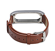 For Millet Bracelet 2 Genuine Leather and Metal Frame Wristband Replacement for Xiaomi MiBand 2 Wrist Strap