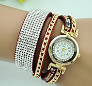 Women's Bracelet Watch Fashion Watch Quartz Imitation Diamond Leather Band Black White Blue Red Brown Pink Rose