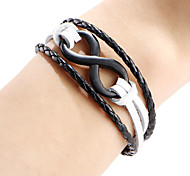 Men's Women's Leather Bracelet Leather Fashion Punk Personalized Infinity White Black Dark Brown Jewelry 1pc