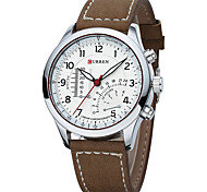 Men's Sport Watch Dress Watch Fashion Watch Quartz Calendar Large Dial Swiss Designer Genuine Leather Band Vintage Casual Multi-Colored