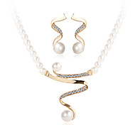 cheap -Jewelry Set Crystal Luxury Costume Jewelry Pearl Imitation Pearl Rhinestone Imitation Diamond Alloy 1 Necklace 1 Pair of Earrings For