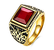Men's Ring Fashion European Costume Jewelry Stainless Steel Titanium Steel Glass Square Geometric Jewelry For Party Daily Casual
