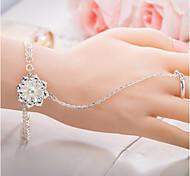 cheap -Women's Ring Bracelet - Sterling Silver Flower Chain, Natural Bracelet Silver For Gift / Valentine
