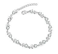 cheap -Women's Zircon Silver Plated Flower Chain Bracelet Charm Bracelet - Hip-Hop Fashion Punk Silver Bracelet For Christmas Gifts Anniversary
