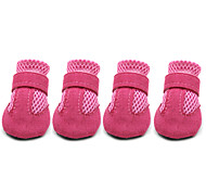 cheap -Dog Boots / Shoes Cute Casual/Daily Solid Black Red Blue Pink For Pets