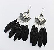 Drop Earrings Feather Alloy Fashion White Black Green Rainbow Jewelry Party 1 pair