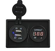 12v / 24v 3.1a toma USB dual y llevado medidor de corriente con el panel titular de la vivienda para rv del carro del barco del coche
