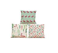 """Недорогие -набор из 3 фламинго птиц подушка крышка 3 стили печатных льняной подушки покрытия творческого украшения (18 """"* 18"""")"""