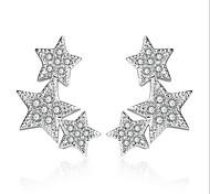 Silver Star S925 Zircon Earrings Wedding Party Elegant Feminine Style