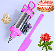 1Set   4 Nozzles Metal Cookie Extruder Press Machine Biscuit Maker Cake Making Decorating Gun Kitchen Tools Set Random Color