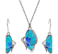Women's Crystal Wedding Party Daily Casual Rhinestone Enamel Alloy Butterfly Animal 1 Necklace 1 Pair of Earrings