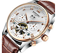KINYUED Men's Leather Band Automatic self-winding Calendar Mechanical Watch Gift (Include Package)