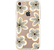 For Apple iPhone 7 7Plus 6S 6Plus Case Cover White Flowers Pattern HD TPU Phone Shell Material Phone Case