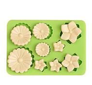 Недорогие -9-луночные цветы формы силиконовые помадные плесень для торта желе шоколадные маффины формы ramdon цвет