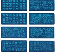 1шт праздник Qj любовник искусства инструмент прямоугольник гвоздь печати шаблон