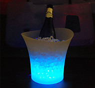 1Pcs 5L Waterproof Plastic Led Ice Bucket Have 7Color Changing Champagne Beer Bucket Bars Night Party