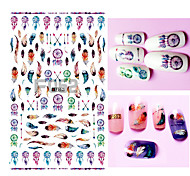 1set  Dreamcatcher Feather Ethnic 3D Nail Art Sticker Nail Decals for Nail Polish