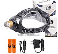 U'King Lanternas de Cabeça Farol Dianteiro LED 3000 lm 4.0 Modo Cree XP-E R2 Com Pilhas e Carregadores Zoomable Foco Ajustável Tamanho