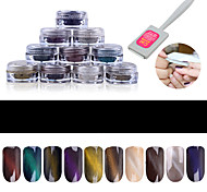 cheap -1g/box Cat Eye Effect Magic Mirror Powder UV Gel Polish Nail Art Magnet Glitter Pigment  Poland Manicure Eye Magnet Tool