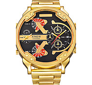 Men's Military Watch Dress Watch Fashion Watch Wrist watch Quartz Calendar / date / day Dual Time Zones Punk Large Dial Stainless Steel