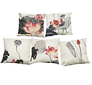 "Set of 5 Chinese Style Lotus  Printed Linen  Creative Decoration Cushion Cover(18""*18"")"