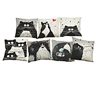 Set of 7  Cartoon images Linen  Cushion Cover Home Office Sofa Square Cat Pillow Case Decorative Cushion Covers Pillowcases