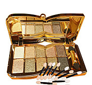 cheap -10 Colors Glitter Eye Shadow And 10pcs Eye Shadow Brush  Diamond Bright Makeup Palette Professional Natural Cosmetic
