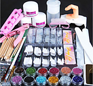 cheap -1set Acrylic Powder Glitter Nail Brush False Finger Pump Nail Art Tools Kit Set