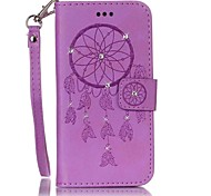 cheap -Case For Samsung Galaxy S7 edge S7 Card Holder Wallet Rhinestone Flip Embossed Full Body Cases Dream Catcher Hard PU Leather for S7 edge