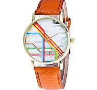 Women's Fashion Watch Wristwatch Quartz Multi-colored Creative Stripe Pattern Dial Top Brand Leather Band Cool Casual Unqiue Watches Relogio Feminino
