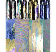 4pcs/set Colorful Nail Art Laser Glitter Transfer Foils Sticker Fashion Cute Nail Chameleon Design Nail Beauty Foils Stickers Manicure Decoration LS4