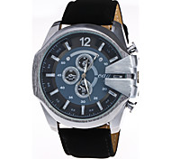 Men's Fashion Big Dial Imitation Leather Strap Steel Quartz Watch
