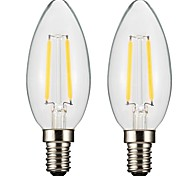cheap -ONDENN 2pcs 2W 150-200 lm E14 E12 LED Filament Bulbs CA35 2 leds COB Dimmable Warm White AC 220-240V AC 110-130V