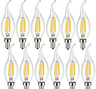 cheap -KWB 12pcs 4W 400 lm E14 LED Filament Bulbs CA35 4 leds COB Decorative Warm White Cold White AC 220-240V