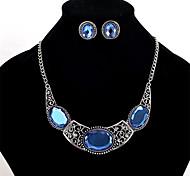 preiswerte -Damen Kristall Krystall Schmuck-Set 1 Paar Ohrringe / Halsketten - Personalisiert / Euramerican Geometrische Form Blau Halskette /