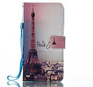For Huawei P8 Lite (2017) Mate 9 Card Holder Wallet with Stand Flip Pattern Case Full Body Case Eiffel Tower Hard PU Leather