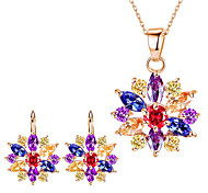 cheap -Women's Rhinestone Jewelry Set 1 Necklace 1 Pair of Earrings - Floral Flower Style Flowers Flower Gold White Rainbow Bridal Jewelry Sets