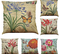 Set of 6 European and American Decorative Painting  Pattern  Linen Pillowcase Sofa Home Decor Cushion Cover (18*18inch)
