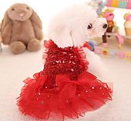 Недорогие -Кошка Собака Платья Одежда для собак Очаровательный Принцесса Красный Розовый Костюм Для домашних животных