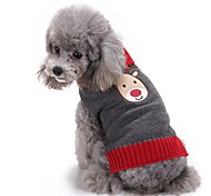 Cat Dog Sweater Dog Clothes Winter Reindeer Cute Fashion Christmas Grey Acrylic Cosplay Dog Clothing