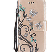 For Apple iPhone 7 7Plus 6S 6Plus SE 5S 5 5C Case Cover Butterfly Love Flower Pattern Embossed Flash Powder Card Wallet Lanyard Stent PU Phone Case