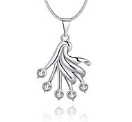 Feminino Colares com Pendentes Cristal Forma Geométrica Prata de Lei Cristal imitação de diamanteOriginal Com Logotipo Pingente Jóias de