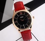 Жен. Модные часы Японский кварц Защита от влаги Натуральная кожа Группа Cool Повседневная Черный Красный Коричневый