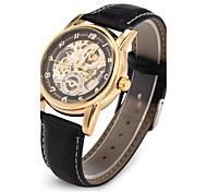 preiswerte -Herrn Automatikaufzug Mechanische Uhr / Armbanduhr Japanisch Transparentes Ziffernblatt PU Band Luxus Schwarz