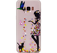 For Samsung Galaxy S8 Plus S8 Sexy Lady Pattern TPU Material Rhinestone Glow in the Dark Soft Phone Case for S7 Edge S7